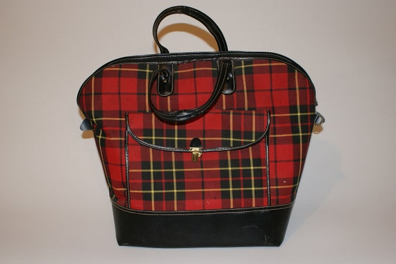 Plaid Bag - Vintage Overnight Luggage in Red Plaid