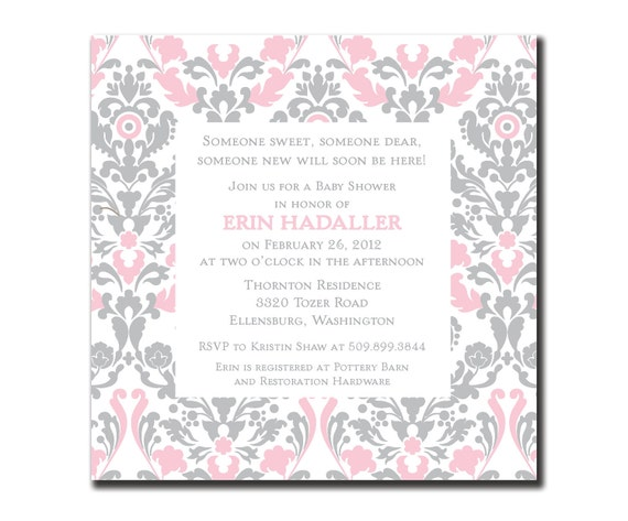 Pink and Gray Damaske Baby Shower Invitation (DIY or printed)