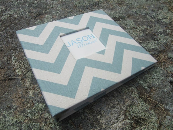 Reserved.  Baby Memory Book...Blue  Zig Zag NEUTRAL...Completely HANDMADE..The Sweet Rhino