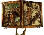 Mixed Media Altered Book Horror and Steampunk Fusion Found and Altered Art Assemblage