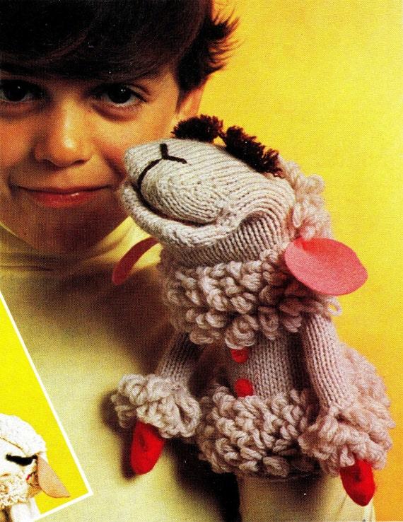 Vintage 70s LAMB CHOP Hand Puppet PDF Knitting by KinsieWoolShop