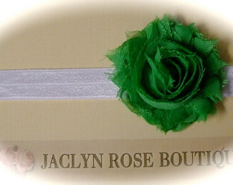 SALE stretch white headband with emerald green shabby rose flower for newborn baby  toddler .. teen  St. Patricks Day photography photo prop