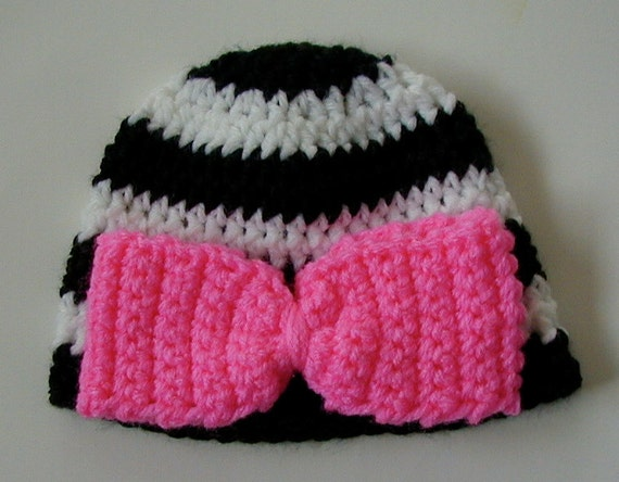 CROCHET baby beanie HAT zebra stripe with pink bow for newborn 0 3 ...