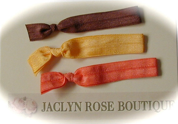 Set of 3 elastic ponytail holder hair ties soft and comfortable toddler to adult ... use as bracelet also yellow brown orange