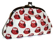 Kokka Red & Cream Owl Print Clutch Purse for women with Amy Butler Spotty Interior fabric / make up bag