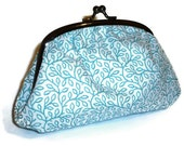 Cute Blue Leaf Print Clutch Purse for women with Amy Butler Spotty Interior fabric / make up bag
