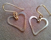 Heart earrings, Small heart dangle earrings,Valentine gifts Jewelry, Open Heart,drop Earrings, Heart jewelry,Love, dangle gold silver hoop