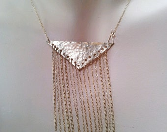 Statement bib necklace Gold Triangle pendant geometric Statement jewelry 14K Gold filled necklace, gold or Silver, unique gift for her