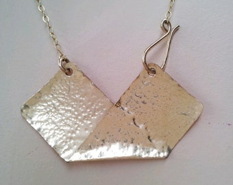 Geometric Necklace,14K Gold filled, Hammered also in Silver, Handmade metalwork, statement bib necklace