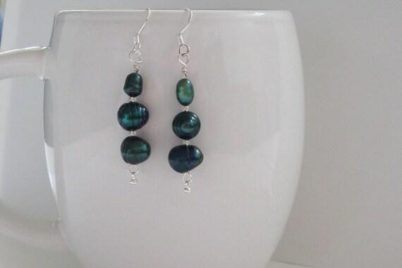 Dark Green Freshwater Pearl Earrings