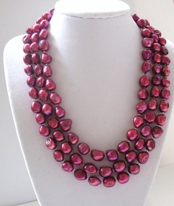 Simply Stunning.  Ruby Red Freshwater Pearl Necklace