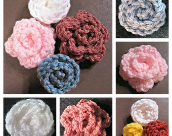 4 Small Rosettes Crochet Patterns- PDF tutorial