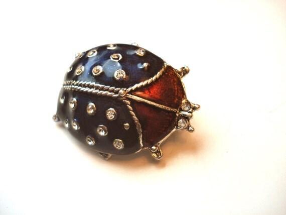 Vintage beetle brooch rhinestone ladybug red and blue