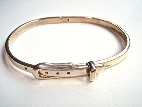 Sterling silver Bracelet Hinged vintage belt buckle bangle