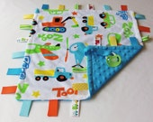 Trucks-Cars-Airplanes - Minky by Shannon - Baby Sensory Binky Blanket - Measures 17 x 17 - Ready to Ship