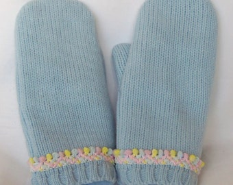 SALE - Baby Blue - Felted Wool Mittens - Womans - Medium