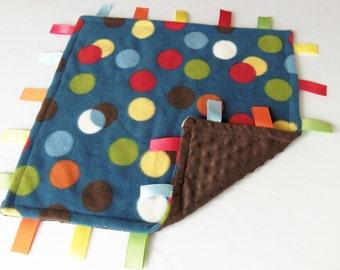 SALE - Minky and Fleece - Baby Sensory Binky Blanket - Poke A Dots - Measures 17x17 - Ready to Ship