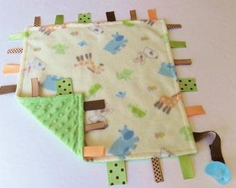 Baby Sensory Binky Blanket - Baby Animals - Fleece/Minky - Measures 17 x 17 - Ready to Ship