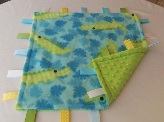 SALE - Baby Sensory Binky Blanket -Teal - Lime Green Alligator - Fleece/Minky - Measures 17 x 17 - Last One