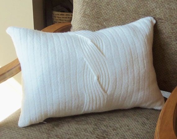 Felted Recycled Wool Sweater Pillow - Ivory