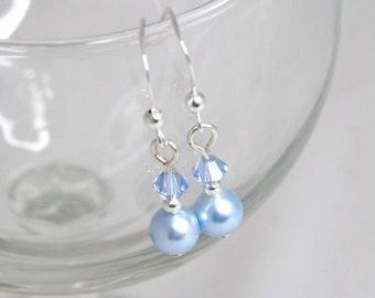 Blue Bridal Earrings - Swarovski Crystal and Pearl, Sterling Silver - Wedding