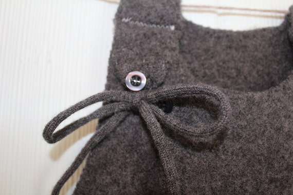 wool A-line wrap vest or dress for baby
