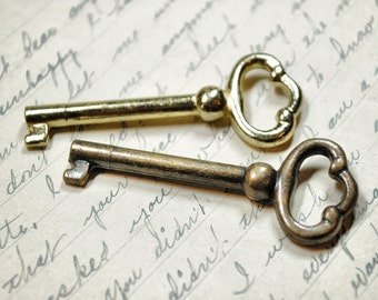 Lot of 2 Antique Skeleton Keys - Two Gold and Bronze Vintage Keys - Steampunk Hardware