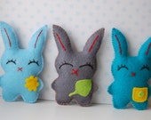 Set of 3 Colorful Easter Bunnies plush dolls , Easter decor, cute child spring gift, stuffed animals