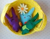 Set of 3 Colorful Easter Bunnies plush dolls, easter basket decor, cute children spring gift