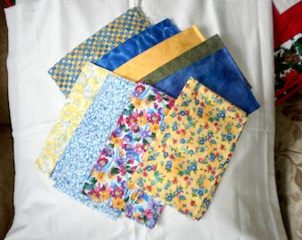 9 Yellow and Blue Medley Fat Quarters
