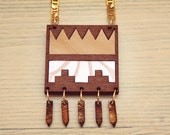 Aztec necklace,geometric necklace,wood necklace,statement bib necklace,wallpaper,statement necklace,aztec jewelry,tassel,wood carving