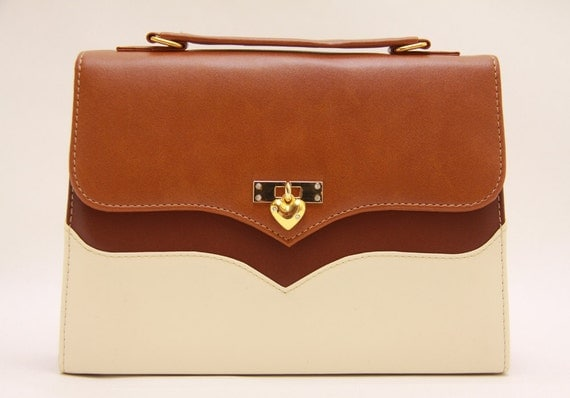 Tricolour-Brown Camel and Cream Suitcase bag with Golden Heart closing