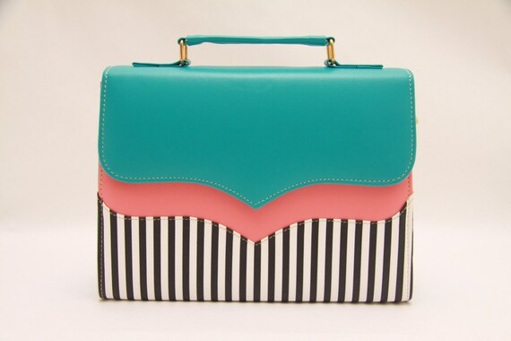 Tiffany blue,salmon pink,neon,colorblock,messenger bag,color block,white stripes,stripes fabric,black and white,summer time,messenger bag