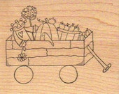 Primitive Harvest Raggedy Wagon Rubber Stamp