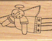 Primitive Flying Snowman Rubber Stamp