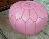 PINK FOOTSTOOL ( leather pouf )