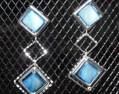 Hypoallergenic Blue Bead/Silver Square Earrings