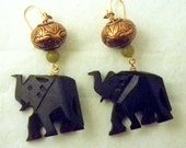 Carved wooden elephant earrings with copper and jade