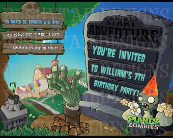 Plants vs Zombies Birthday Invitations