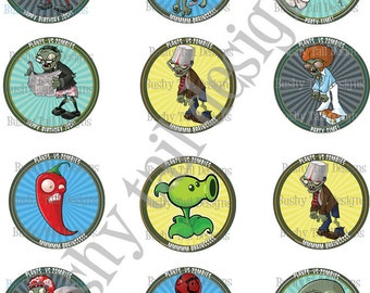 Plants vs Zombies Birthday Cupcake Toppers Customized
