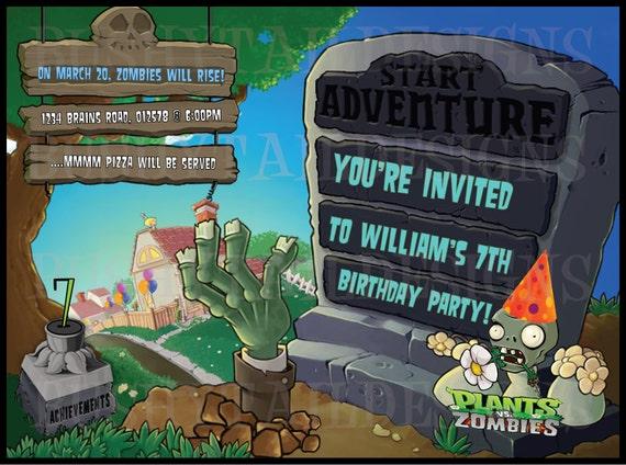 Plants Vs Zombies Birthday Invitation And Thank You Card