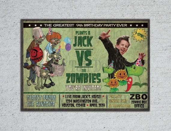 Plants vs Zombies Birthday Invitation
