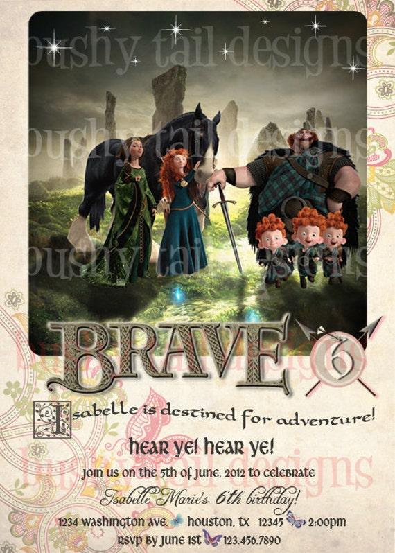 Brave Princess Merida Birthday Invitation