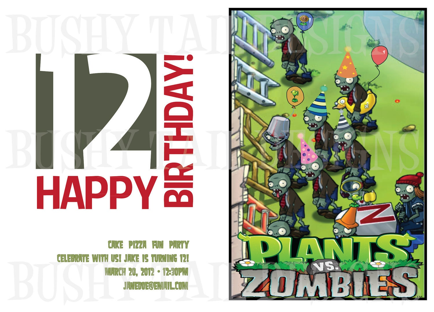 plants vs zombies birthday card pictures to pin on pinterest, Birthday invitations