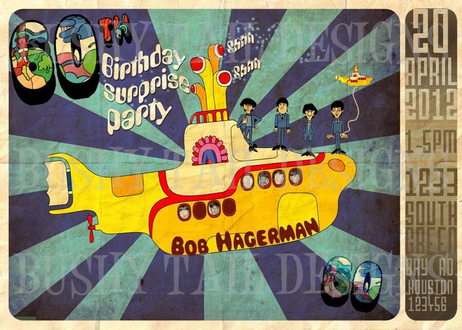 Yellow Submarine Birthday Invitation