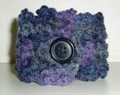 Beautiful cuff bracelet, wrist warmers, crocheted wrist warmers, crocheted wristlets, purple cuff,crocheted cuff
