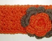 Baby headband, orange and brown headband, headband, newborn headband
