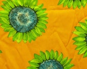 Eye-Catching Orange Cotton with Blue and Green Sunflowers 2 5/8 yds VFA-20