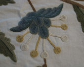"""Large Floral Wool Embroidered Cotton Fabric Pattern- Listing for a Panel 2 yards 15"""" long & 26"""" wide"""
