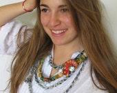 Eco-friendly, Fluffy multi strand jeans necklace